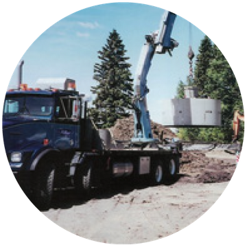 Truck performing septic tank maintenance in Edmonton, AB